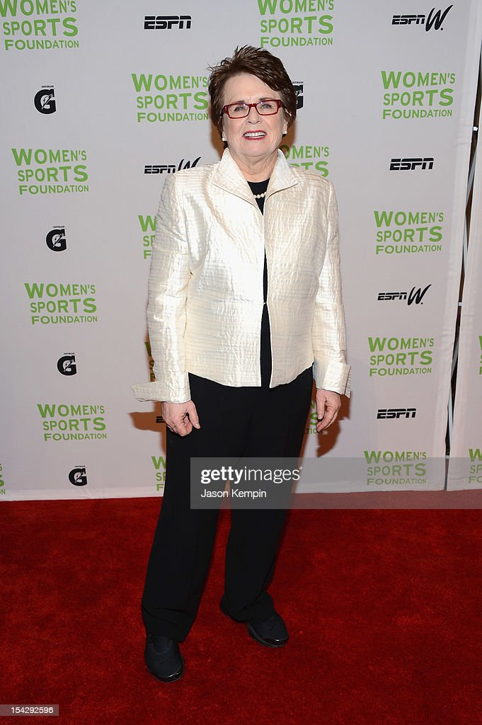 Former tennis player <a gi-track='captionPersonalityLinkClicked' href=/galleries/search?phrase=Billie+Jean+King&family=editorial&specificpeople=93147 ng-click='$event.stopPropagation()'>Billie Jean King</a> attends the 33rd Annual Salute To Women In Sports Gala at Cipriani Wall Street on October 17, 2012 in New York City.