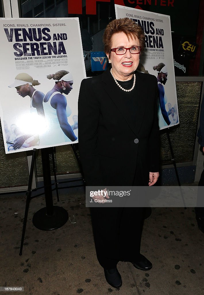 Former Tennis Player Billy Jean King attends the New York screening of 'Venus and Serena' at IFC Center on May 2, 2013 in New York City.