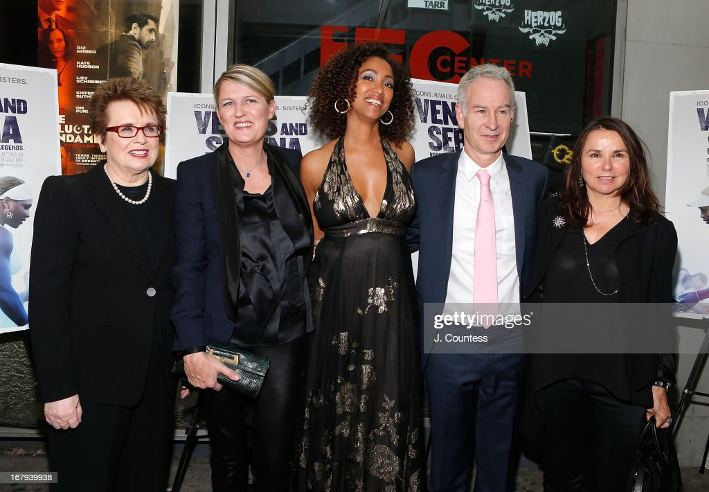 Former Tennis Player Billy Jean King, director Maiken Baird, director Michelle Major, former tennis player <a gi-track='captionPersonalityLinkClicked' href=/galleries/search?phrase=John+McEnroe&family=editorial&specificpeople=159411 ng-click='$event.stopPropagation()'>John McEnroe</a> and Patty Smith attend the New York screening of 'Venus and Serena' at IFC Center on May 2, 2013 in New York City.