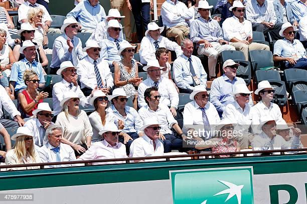 Former Tennis Player Bjorn Borg and his wife TV Host Michel Drucker Pascal Desprez Miss Manule Valls Violonist Anne Gravoin President of FFT Jean...