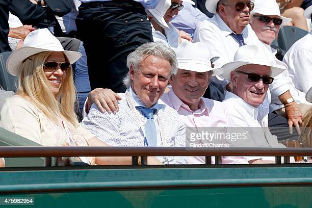 Former Tennis Player Bjorn Borg and his wife TV Host Michel Drucker and Pascal Desprez attend the 2015 Roland Garros French Tennis Open Day Thirteen...