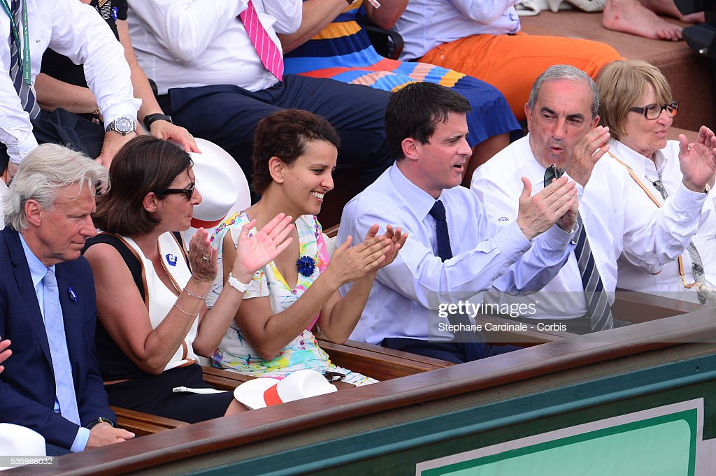 Former Tennis Player Bjorn Borg, Mayor of Paris Anne Hidalgo, Minister of Women's Rights, the City and the Youth and Sports Najat Vallaud-Belkacem, French Prime Minister Manuel Valls and Jean Gachassin attend the Men's Final of Roland Garros French Tennis Open 2014 - Day 15 on June 8, 2014 in Paris