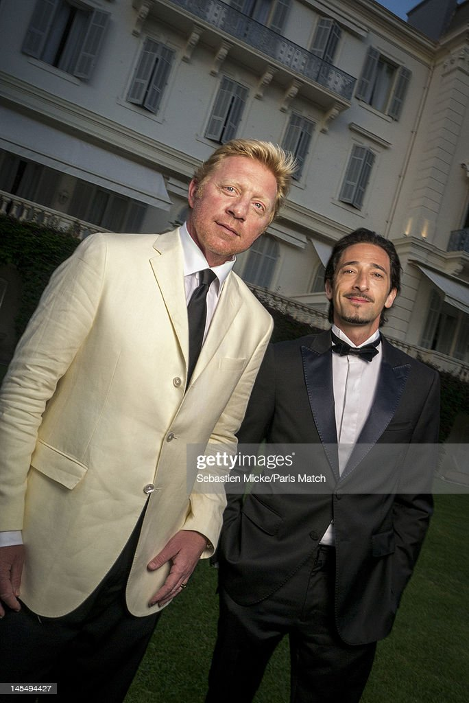 Former tennis player Boris Becker and actor Adrien Brody, photographed at the amfAR Cinema Against AIDS gala, for Paris Match on May 24, 2012, in Cap d'Antibes, France.