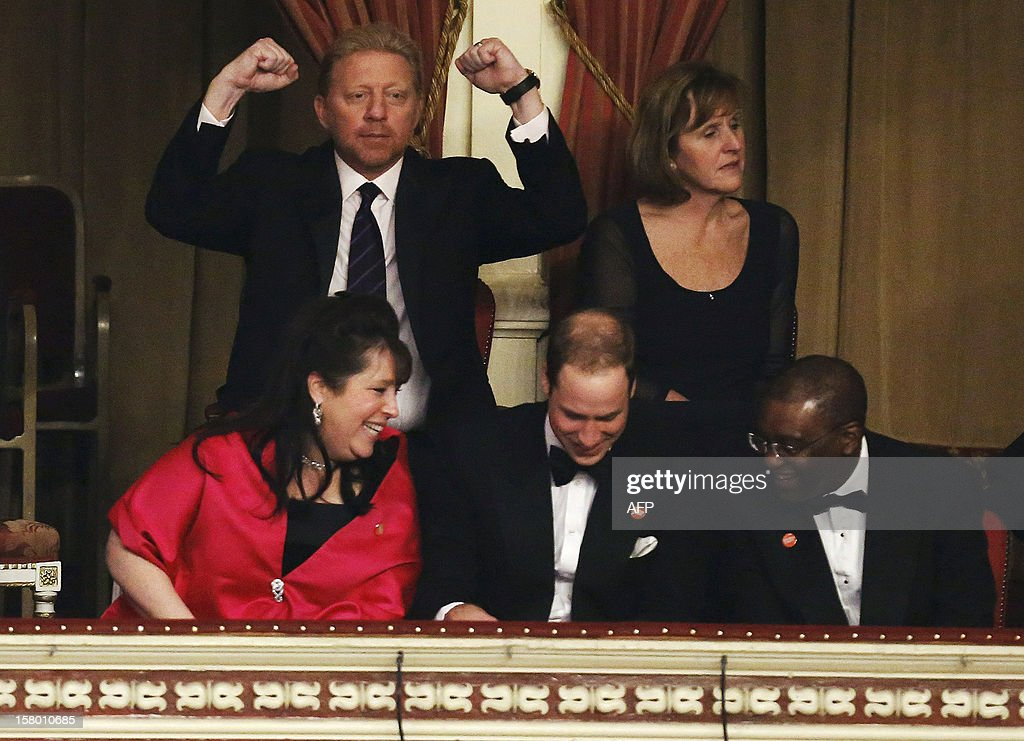 Former tennis player Boris Becker (up L) reacts as Britain's Prince William, Duke of Cambridge (C), Centrepoint trustee Danielle Alexandra (L) and CEO Seyi Obakin (R) talk in the Royal Box at the Winter Whites Gala in aid of the Centrepoint charity at the Royal Albert Hall in central London on December 8, 2012. The Prince attended the gala in aid of the charity of which he is patron. The London hospital that treated Prince William's pregnant wife Catherine and where a nurse was found dead after being hoaxed by an Australian radio show on Saturday wrote to the station condemning the 'truly appalling' stunt.