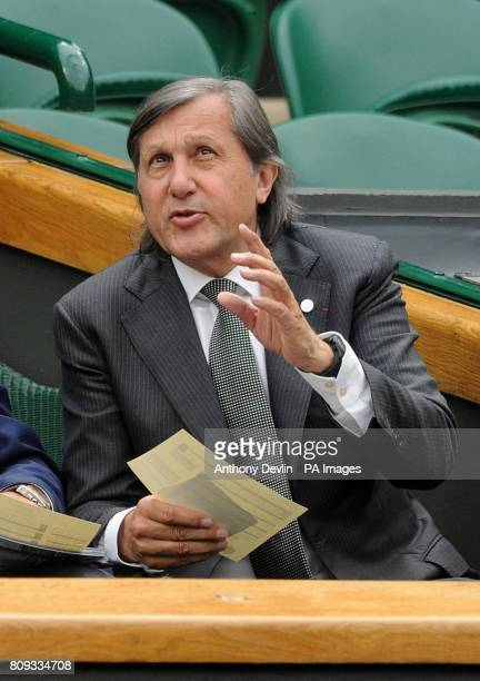 Former tennis player Ilie Nastase in the Royal Box on Centre Court during day four of the 2011 Wimbledon Championships at the All England Lawn Tennis...