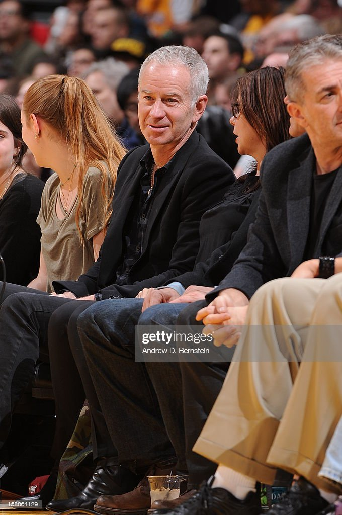 Former tennis player John McEnroe attends a game between the Philadelphia 76ers and the Los Angeles Lakers at Staples Center on January 1, 2013 in Los Angeles, California.