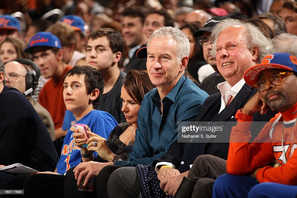 Former tennis player, John McEnroe, looks on during the game between the New York Knicks and the Chicago Bulls on January 11, 2013 at Madison Square Garden in New York City.