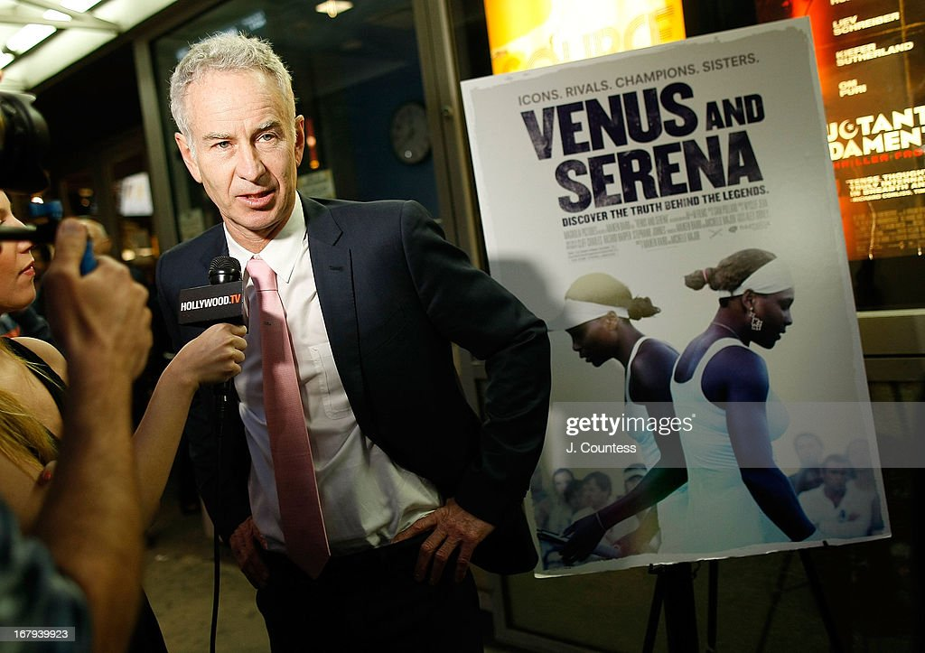 Former tennis player <a gi-track='captionPersonalityLinkClicked' href=/galleries/search?phrase=John+McEnroe&family=editorial&specificpeople=159411 ng-click='$event.stopPropagation()'>John McEnroe</a> speaks to the media at the New York screening of 'Venus and Serena' at IFC Center on May 2, 2013 in New York City.