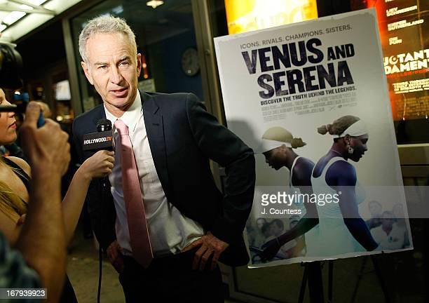 Former tennis player John McEnroe speaks to the media at the New York screening of 'Venus and Serena' at IFC Center on May 2 2013 in New York City