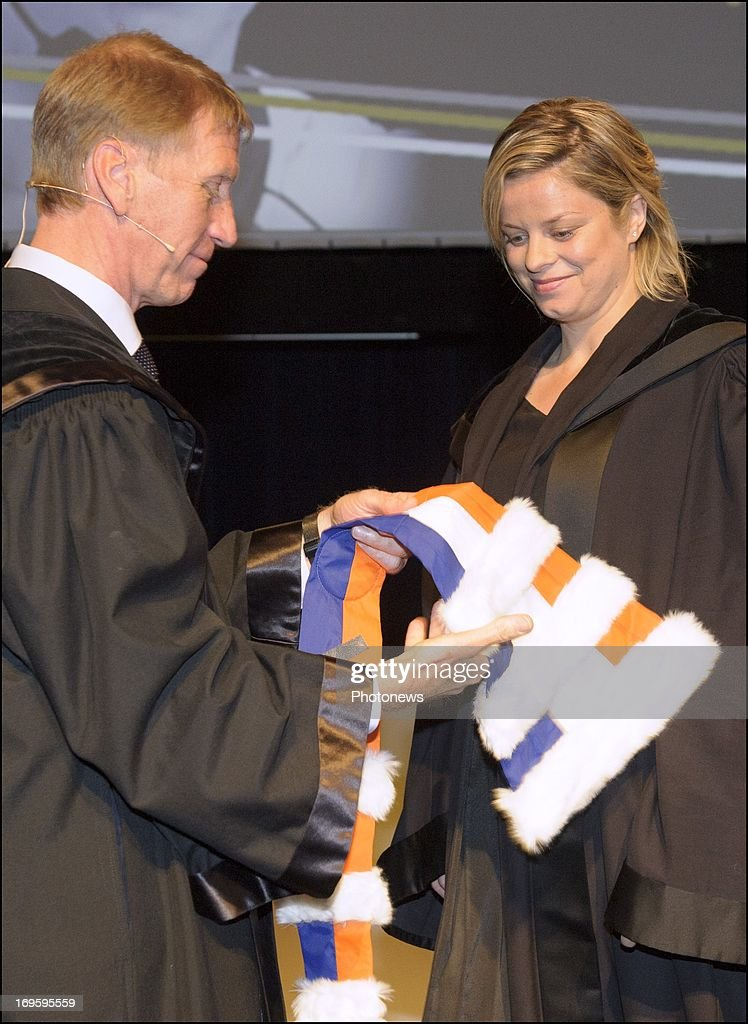 Former tennis player <a gi-track='captionPersonalityLinkClicked' href=/galleries/search?phrase=Kim+Clijsters&family=editorial&specificpeople=178302 ng-click='$event.stopPropagation()'>Kim Clijsters</a> receives an Honorary Degree at VUB on May 28, 2013 in Brussels, Belgium.
