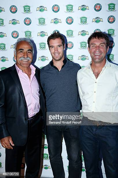 Former tennis player Mansour Bahrami tennis player Richard Gasquet and former tennis player Pat Cash attend the Legends of Tennis Dinner Held at...