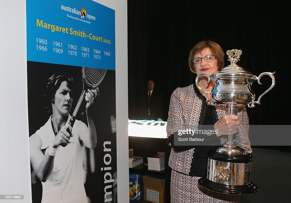 Former tennis player <a gi-track='captionPersonalityLinkClicked' href=/galleries/search?phrase=Margaret+Court&family=editorial&specificpeople=226911 ng-click='$event.stopPropagation()'>Margaret Court</a> carries the Daphne Akhurst Trophy during the 2013 Australian Open launch at Melbourne Park on October 2, 2012 in Melbourne, Australia.