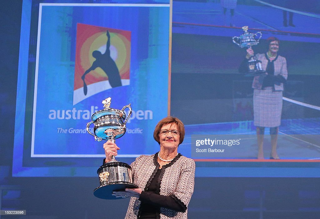 Former tennis player Margaret Court carries the Daphne Akhurst Trophy during the 2013 Australian Open launch at Melbourne Park on October 2, 2012 in Melbourne, Australia.
