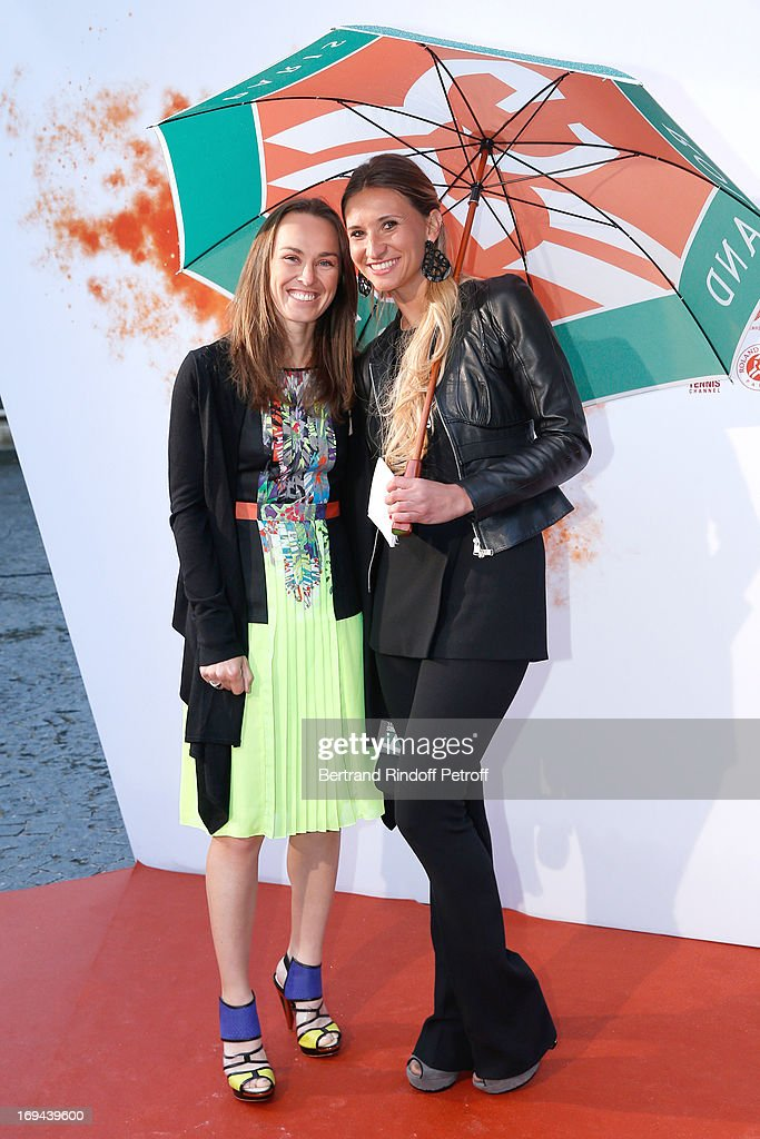 Former Tennis Player Martina Hingis and Former Tennis Player and commentator Tatiana Golovin attend Annual Photocall for Roland Garros Tennis Players at 'Residence De L'Ambassadeur Des Etats-Unis' on May 24, 2013 in Paris, France.