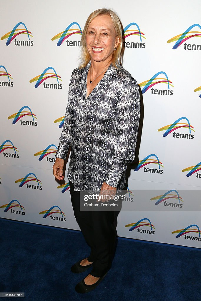 Former tennis player <a gi-track='captionPersonalityLinkClicked' href=/galleries/search?phrase=Martina+Navratilova&family=editorial&specificpeople=201523 ng-click='$event.stopPropagation()'>Martina Navratilova</a> arrives at the Legends Lunch during day 13 of the 2014 Australian Open at Melbourne Park on January 25, 2014 in Melbourne, Australia.