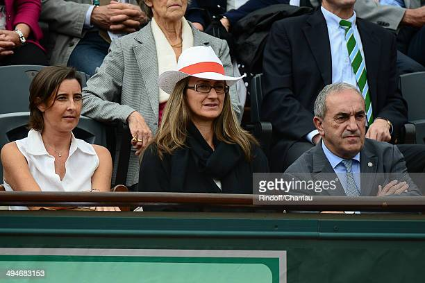 Former tennis player Mary Pierce and FFT President Jean Gachassin attend the Roland Garros French Tennis Open 2014 Day 6 at Roland Garros on May 30...