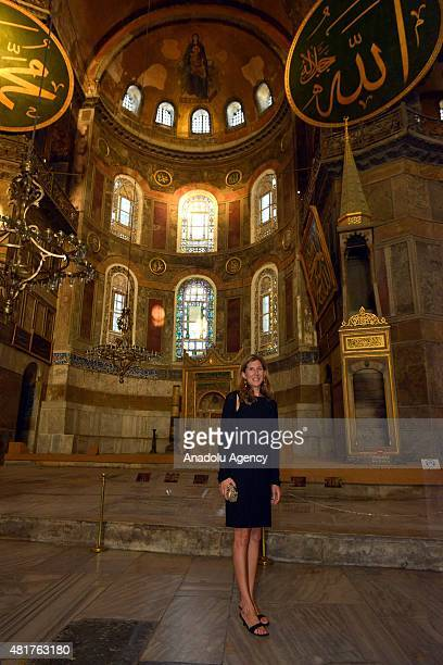 Former tennis player Monica Seles poses for the media during her visit to Hagia Sophia Museum in Istanbul Turkey on July 24 2015