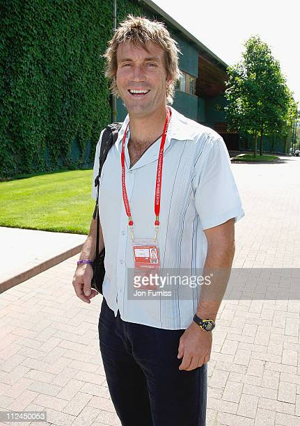 Former tennis player Pat Cash arrives on day one of the Wimbledon Championships 2008 at the All England Club on June 23 2008 in London England