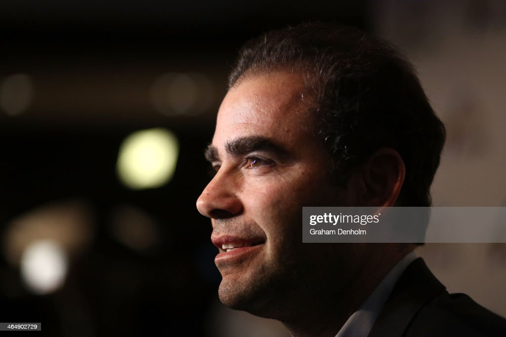 Former tennis player <a gi-track='captionPersonalityLinkClicked' href=/galleries/search?phrase=Pete+Sampras&family=editorial&specificpeople=202162 ng-click='$event.stopPropagation()'>Pete Sampras</a> arrives at the Legends Lunch during day 13 of the 2014 Australian Open at Melbourne Park on January 25, 2014 in Melbourne, Australia.