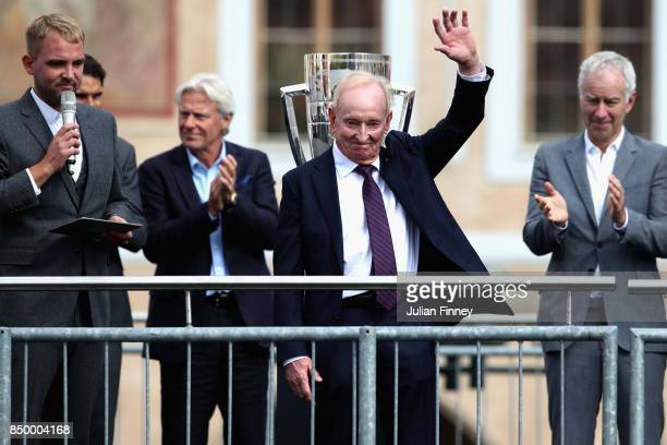 Former Tennis player Rod Laver waves to fans ahead of the Laver Cup on September 20 2017 in Prague Czech Republic The Laver Cup consists of six...