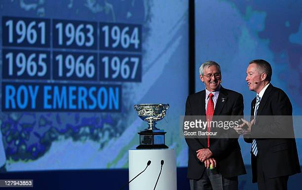 Former tennis player Roy Emerson is interviewed by Craig Tiley Australian Open Tournament Director during the launch of the 2012 Australian Open at...