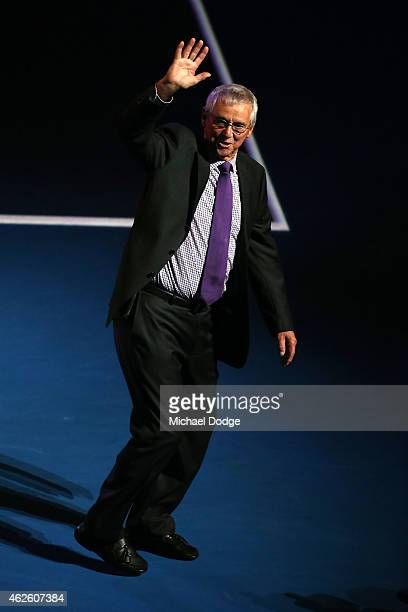 Former tennis player Roy Emerson waves ahead of the men's final match during day 14 of the 2015 Australian Open at Melbourne Park on February 1 2015...