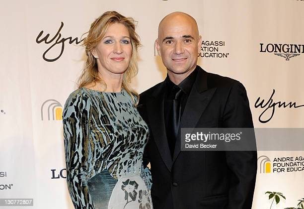 Former tennis player Steffi Graf and former tennis player Andre Agassi arrive at the Andre Agassi Foundation for Education's 16th Grand Slam for...