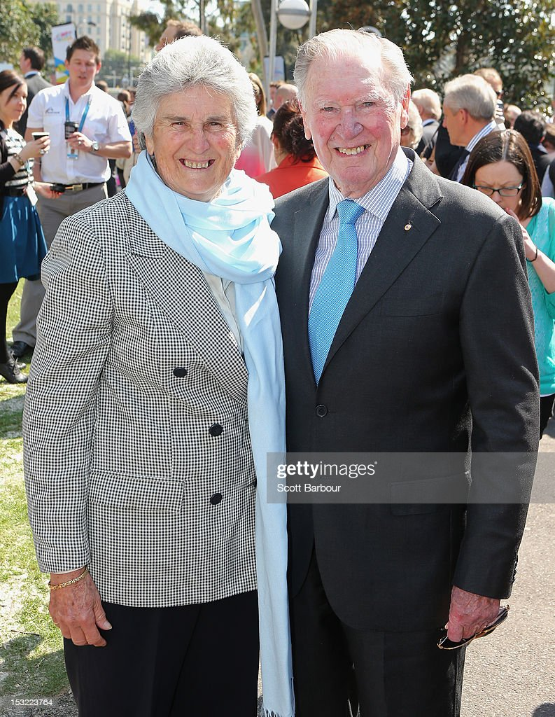 Former tennis playerJudy Tegart Dalton (L) arrives during the 2013 Australian Open launch at Melbourne Park on October 2, 2012 in Melbourne, Australia.