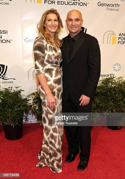 Former tennis players Steffi Graf and Andre Agassi arrive at the Andre Agassi Foundation for Education's 15th Grand Slam for Children benefit concert...