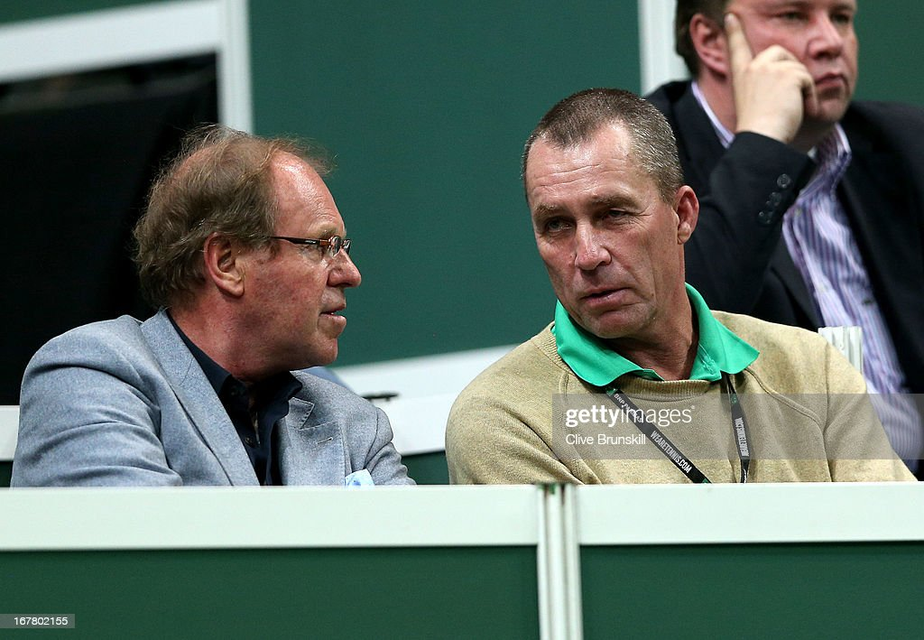 Former tennis players Wojciech Fibak (L) and <a gi-track='captionPersonalityLinkClicked' href=/galleries/search?phrase=Ivan+Lendl&family=editorial&specificpeople=242990 ng-click='$event.stopPropagation()'>Ivan Lendl</a> talk as they attend day one of the final Davis Cup match between Czech Republic and Spain at the 02 Arena on November 16, 2012 in Prague, Czech Republic.