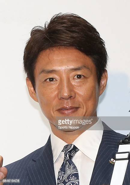 Former tennis player/TV personality Shuzo Matsuoka attends the airweave inc press conference on June 28 2016 in Tokyo Japan