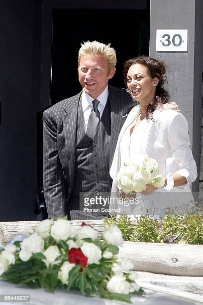 Former tennis star Boris Becker and his fiancee Sharlely Kerssenberg depart after their legal wedding at Segantini Museum on June 12 2009 in St...