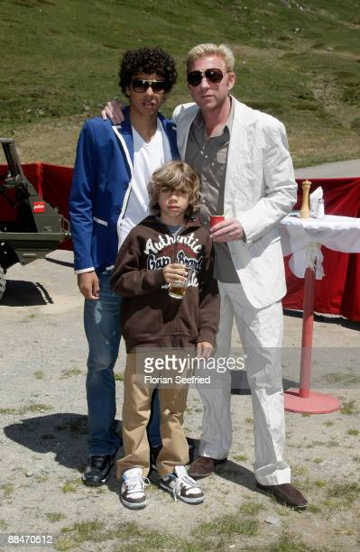 Former tennis star Boris Becker and his sons Noah and Elias pose for a picture after taking a ski lift to their wedding brunch reception on June 13...