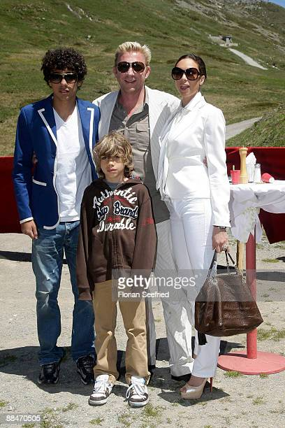 Former tennis star Boris Becker and his wife Sharlely and his sons Noah and Elias pose for a picture after taking a skilift to their wedding brunch...
