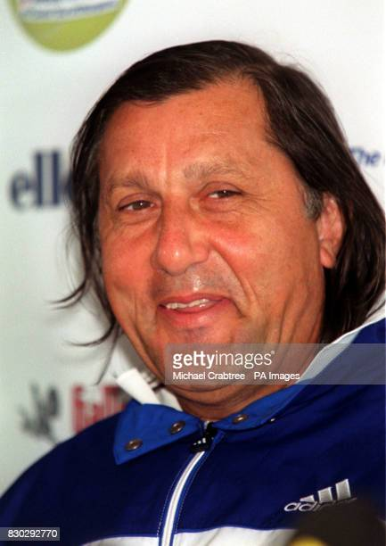 Former tennis star Illie Nastase at a press conference at the London Hilton hotel to announce the Honda Challenge tennis competition to be held at...
