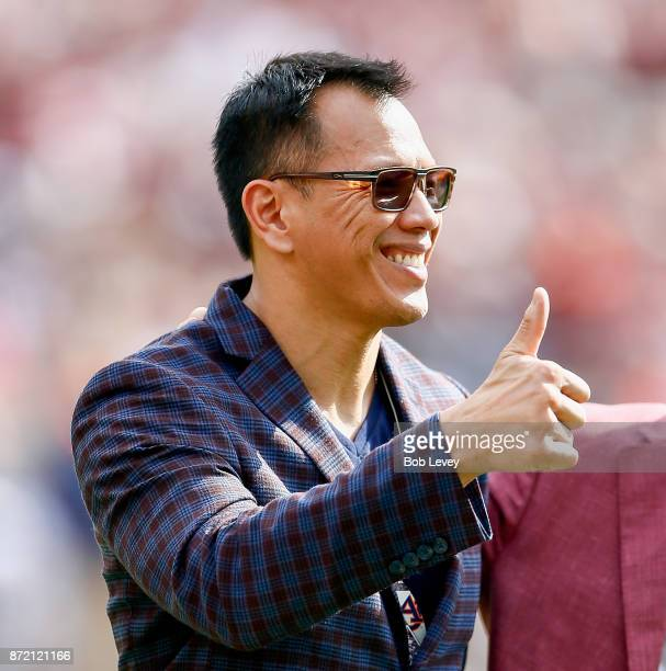 Former Texas AM Aggie and Dallas Cowboy Dat Nguyen at Kyle Field as he was inducted into the College Football Hall of Fame on November 4 2017 in...
