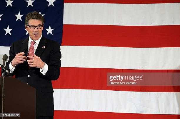 Former Texas Gov Rick Perry speaks at the First in the Nation Republican Leadership Summit April 17 2015 in Nashua New Hampshire The Summit brought...