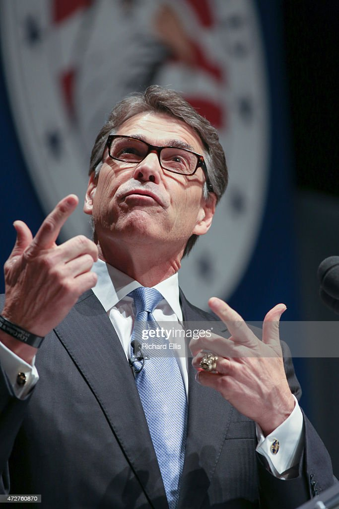 Former Texas Governor <a gi-track='captionPersonalityLinkClicked' href=/galleries/search?phrase=Rick+Perry+-+Politician&family=editorial&specificpeople=175872 ng-click='$event.stopPropagation()'>Rick Perry</a> speaks at the Freedom Summit on May 9, 2015 in Greenville, South Carolina. Perry joined eleven other potential candidates in addressing the event hosted by conservative group Citizens United.