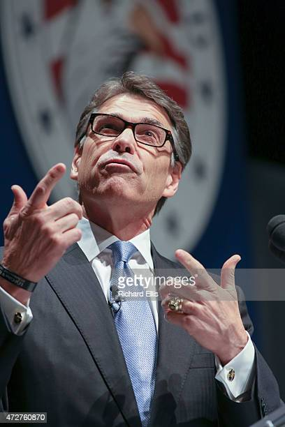Former Texas Governor Rick Perry speaks at the Freedom Summit on May 9 2015 in Greenville South Carolina Perry joined eleven other potential...
