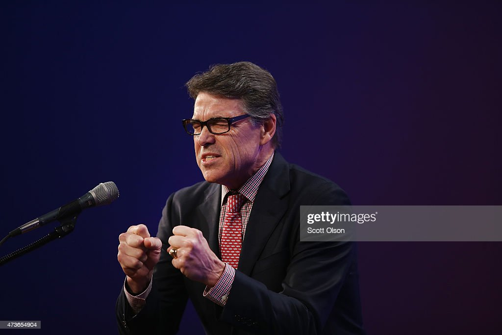 Former Texas Governor Rick Perry speaks to guests gathered for the Republican Party of Iowa's Lincoln Dinner at the Iowa Events Center on May 16 2015...