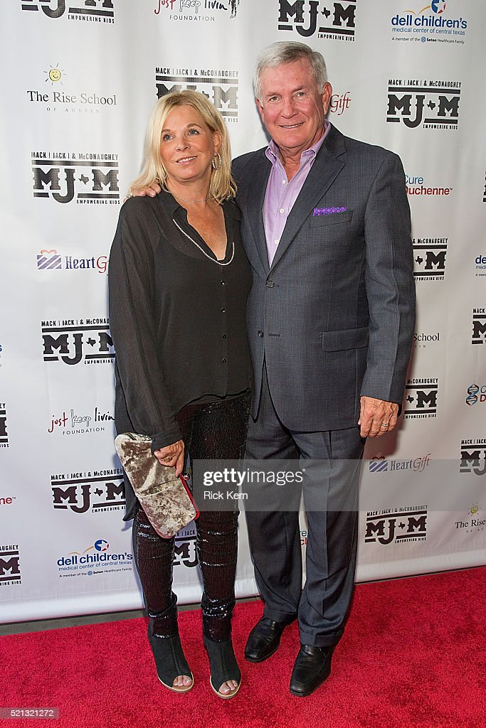 Former Texas Longhorns football coach Mack Brown and wife Sally Brown arrive at the fourth Mack, Jack & McConaughey charity gala at ACL Live on April 14, 2016 in Austin, Texas.