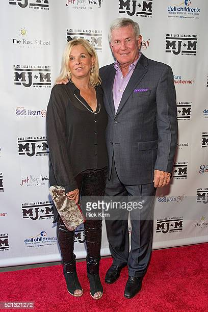 Former Texas Longhorns football coach Mack Brown and wife Sally Brown arrive at the fourth Mack Jack McConaughey charity gala at ACL Live on April 14...