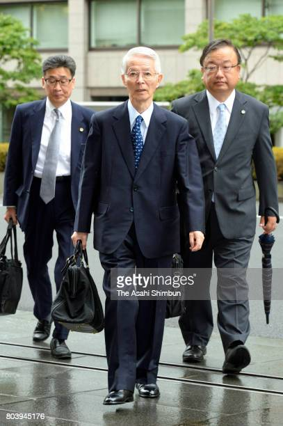 Former Tokyo Electric Power Co Chairman Tsunehisa Katsumata appears at the Tokyo District Court on June 30 2017 in Tokyo Japan The former executives...