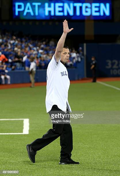 Former Toronto Blue Jays Pat Hentgen takes the field to throw out the first pitch before game two of the American League Division Series against the...