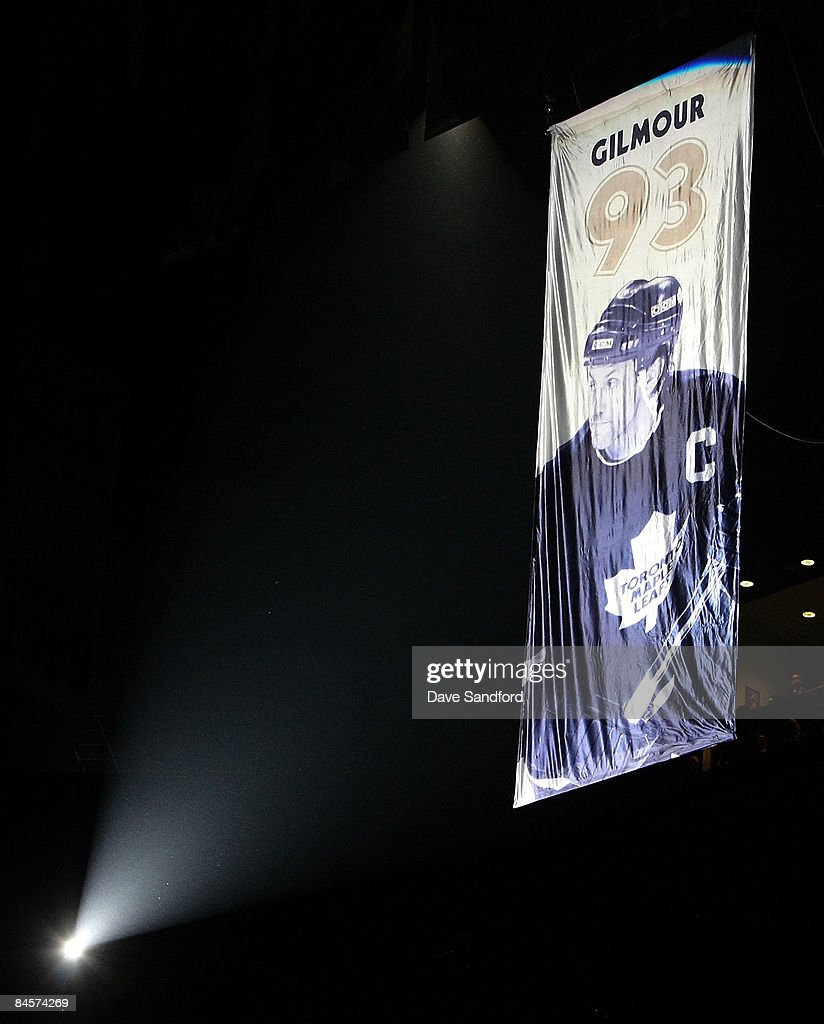 Former Toronto Maple Leaf Doug Gilmour's #93 is raised to the rafters prior to the Toronto Maple Leafs taking on the Pittsburgh Penguins during their NHL game at the Air Canada Centre January 31, 2009 in Toronto, Canada.