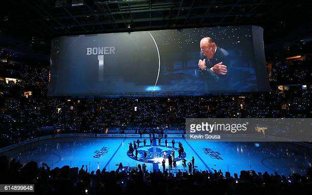 Former Toronto Maple Leafs player Johnny Bower has his number retired during the opening ceremony for the Leafs 100th season at the Air Canada Centre...