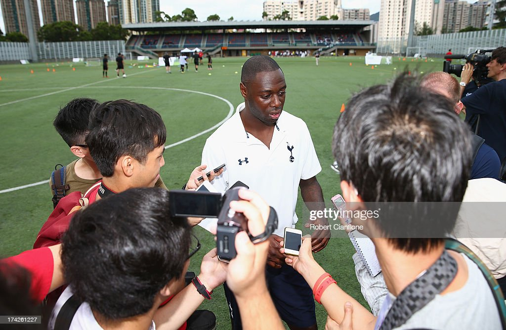 Former Tottenham Hotspur player Ledley King is interviewed by the media during the Premier Skills and Creating Chances open day on July 23, 2013 in Hong Kong, Hong Kong.