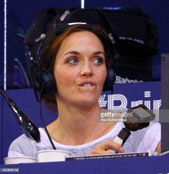 Former track cyclist and Olympic Gold Medalist Victoria Pendleton commentates for BBC Radio 5 Live on the track cycling events in the Sir Chris Hoy...