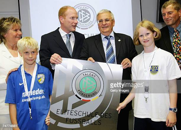 Former trainer of the womens national soccer team Tina TheunaMeyer 11 year old sports student and soccer player Martino Schulz Sports manager of the...
