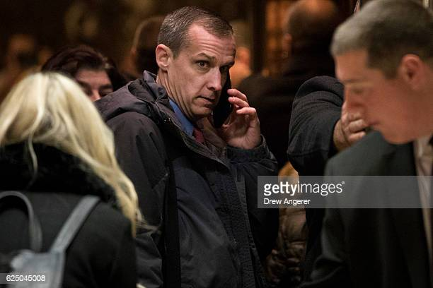 Former Trump campaign manager Corey Lewandowski arrives at Trump Tower November 22 2016 in New York City Presidentelect Donald Trump and his...